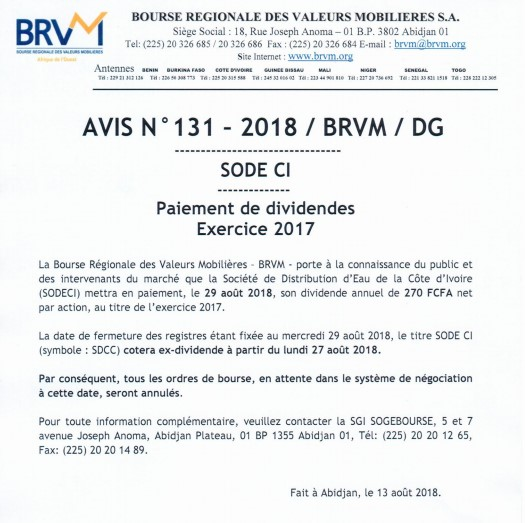 SODECI AVIS DIVIDENDES 2017